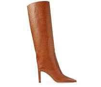 Mavis 85 Hohe Stiefel aus braunem Leder mit Krokodil-Relief