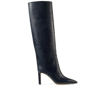 Mavis 85 Hohe Stiefel aus dunkelblauem Leder mit Krokodil-Relief