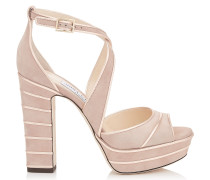 April 120 Peeptoe-Sandalen aus Wildleder in Ballettrosa mit metallischem Nappaleder