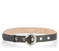 Madeline Belt Gürtel aus schwarzem Ziegenleder mit kristallbesetzer Schnalle