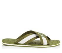 Clive Sandalen aus weißem und olivenfarbenem Grosgrain-Gummi