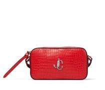 Hale Kleine Tasche aus rotem Leder mit Krokodilrelief und JC Logo