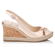 Amely 80 Wedges aus Metallic-Leder in Ballettrosa