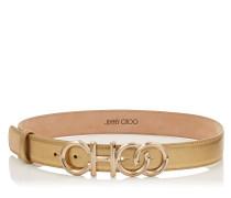 Choo Belt/l Choo Gürtel aus Nappaleder in Goldmetallic mit Metalllogo
