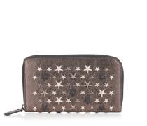 Carnaby Reisebrieftasche aus Glitzerleder in Rotguss mit silbernen Sternen und Metallic-Optik