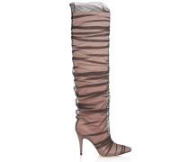 Elisabeth 100 Kniehohe Stiefel aus nudefarbenem Satin und Tüll mit Rüschen