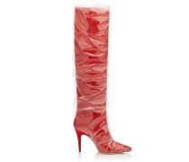 Elisabeth 100 Kniehohe Stiefel aus rotem Satin und TPU mit Rüschen