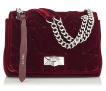 Helia Shoulder Bag/s Umhängetasche aus Samt in Bordeauxrot mit Kettenriemen