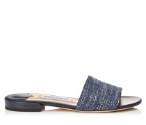Joni Flat Sandalen aus dunkelblauem Tweed in Metallic-Optik