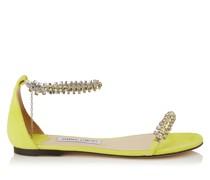 Shiloh Flat Flache Sandaletten aus Wildleder in Fluo-Gelb mit Schmucksteinbesatz