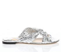 Lela Flat Flache Sandalen aus silbernem metallischen Leder