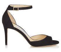 Annie 85 Peeptoe-Sandalen aus schwarzem Wildleder