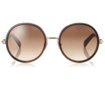 Andie Runde Sonnenbrille aus Havana-Braunem Azetat und silber-goldenen Kristall-Details