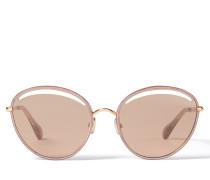 Malya Ovale Sonnenbrille aus goldenem Kupfer und rosafarbenem Lamé-Glitzer