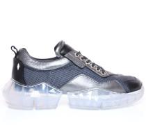 Diamond/m Sneaker aus grauem Netzgewebe und Leder-Mix mit Plateausohle