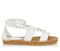 Denise Flat Flache Schuhe aus weißem Vachetteleder mit Nietendetails