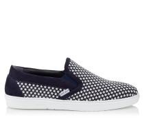 Grove Slip-On-Sneaker aus dunkelblauem Wildleder mit kleinen weißen Gummisternen