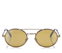 Jeff Runde und ovale Sonnenbrille mit silbernen Spiegelgläsern und Gestell in Metallic-Bronze