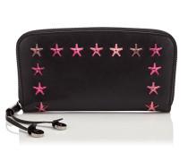 Filipa Brieftasche mit umlaufenden Reißverschluss aus schwarzem Leder mit Stern-Dégradé in Kirsche