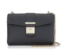 Marianne Shoulder Bag/s Tasche aus schwarzem genarbten Kalbsleder