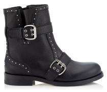 Blyss Flat Flache Stiefeletten aus schwarz genarbtem Leder