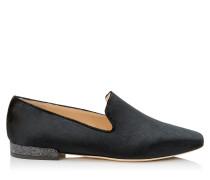 Jaida Flat Flache Schuhe aus schwarzem flüssigen Samt mit Glitzerabsatz