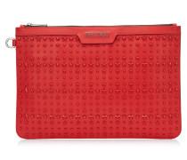Derek Dokumenttasche aus rotem Leder mit Sternen