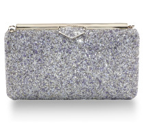Ellipse Clutch aus bemaltem groben Glitzergewebe in Platin Mix