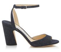 Miranda 85 Sandaletten aus Denim in Indigo mit Blockabsatz