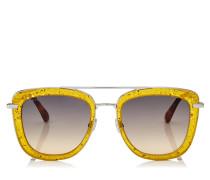 Glossy Quadratische Metall-Sonnenbrille in Gelb mit glitzerndem Plexiglasrahmen