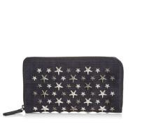 Carnaby Reisebrieftasche aus dunkelblauem Denim-Wildleder mit Sternen in Metallic und Stahl