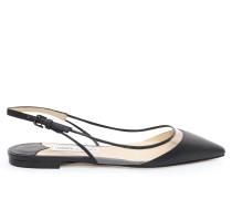 Erin Flat Spitze Slingback-Schuhe aus schwarzem Nappaleder und durchsichtigem Plexi