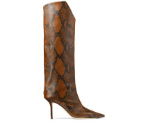 Brelan 85 Hohe Stiefel aus braunem Leder mit Schlangen-Print