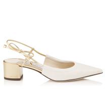 Gemista 40 Flache spitze Schuhe in Latte mit Riemen aus Nappaleder in Goldmetallic