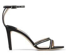 Lydia 85 Sandaletten aus schwarzem Satin mit Kristalldetails