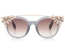 Vivy Sonnenbrille mit rundem grauem Gestell und abnehmbaren Schmuckeinsatz