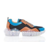 Diamond/m Sneaker aus braunem und wasserfarbenem Leder und Techno-Meschgewebe