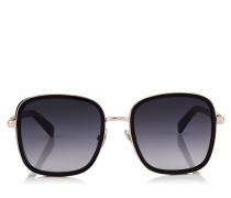 Elva Oversize Sonnenbrille in Schwarz und Kupfergold mit Details aus Schimmerwildleder