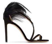 Belissa 100 Sandaletten aus schwarzem Wildleder mit Federn