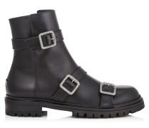 Hank Flat Stiefeletten aus glattem schwarzen Leder mit Schnallen
