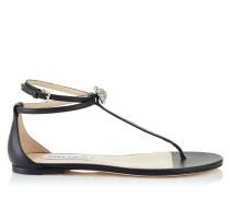 Afia Flat Flache Sandalen aus schwarzem Nappaleder mit Kristallstück