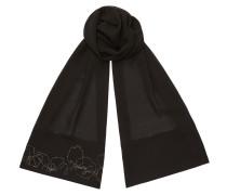 Nasia H68023500 Rechteckige Stola aus schwarzer Seide