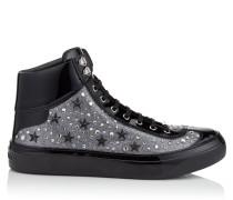 Argyle High-Top-Sneaker aus feinem grauen Glitzergewebe mit Sternen und Kristall