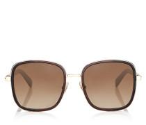 Elva Oversize Sonnenbrille aus Metall in Braun und Havana mit Kristallstoff