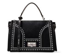 Helia TOP Handle Handtasche aus schwarzem Leder mit Fell-Print und Nietendetails