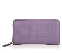 Bettina Große Brieftasche aus violettem Nappaleder mit Relief-Logo