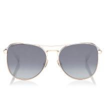 Sheena Aviator Sonnenbrille aus Metall in Kupfergold und dunklem Havana