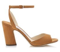 Miranda 85 Sandaletten aus Wildleder in Cuoio mit Blockabsatz