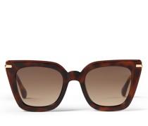 Ciara Cat-Eye Sonnenbrille in Braun mit Brillenbügel in Rose Gold