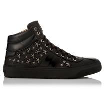 Belgravia Sneakers aus schwarzem Nappaleder mit Rotguss-Sternen